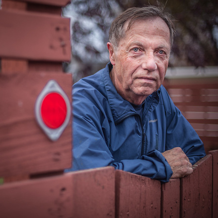 My neighbor Pete Hjellen at his alley gate in Anchorage's South Addition neighborhood.  peteanddiane@gci.net (© Clark James Mishler)