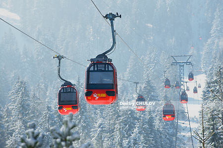 LUCERN, SWITZERLAND - FEBRUARY 21, 2012: Cable car gondola of the Pilatus cable car moves uphill to the Pilatus mountain viewpoint, Lucern, Switzerland. (Dmitry Chulov)