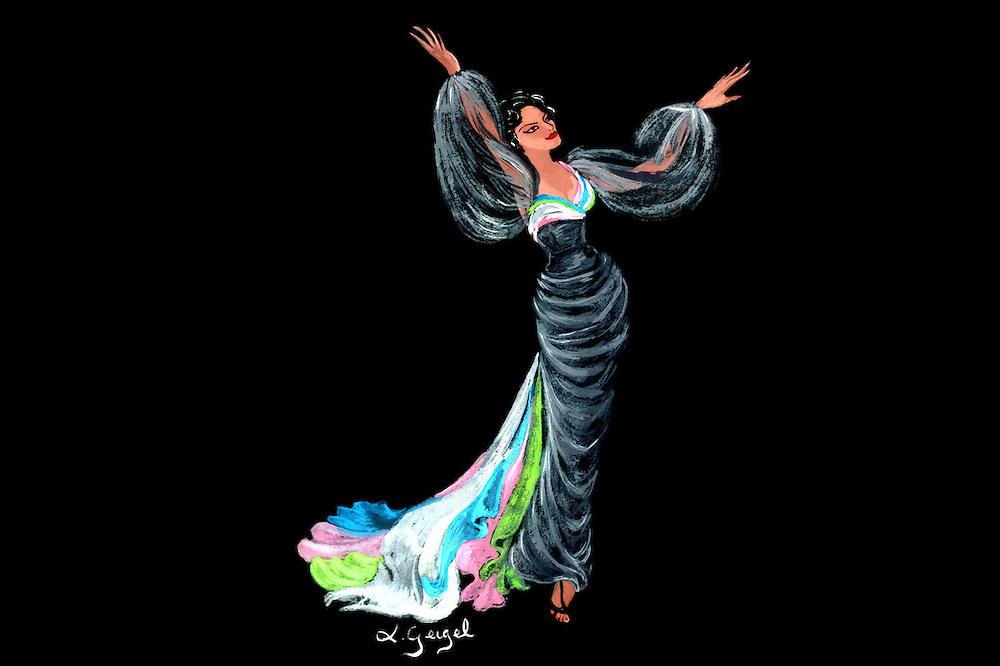 Maricusa en un diseño de Luisa Geigel