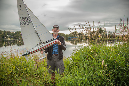 Peter Johnson is a member of the North Star RC Sailing Club and is preparing for the Tuesday Night Races at Westchester Lagoon, Anchorage  peter.joy.ak@gmail.com (© Clark James Mishler)
