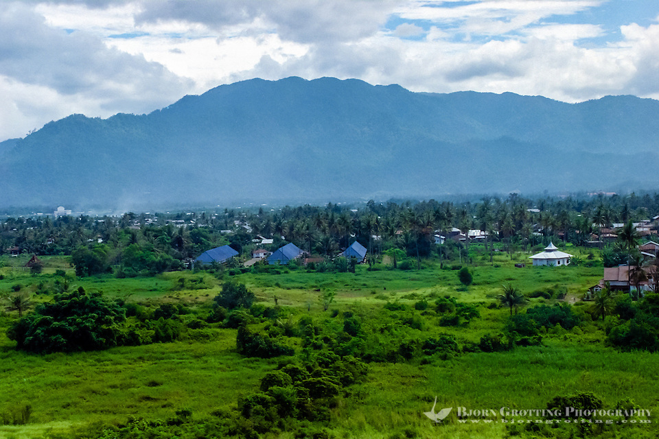 West Sumatra, Padang. View over the Padang area with mountains in the background (from helicopter). (Photo Bjorn Grotting)