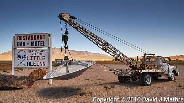 Earthlings Welcome. Little Aleinn Restaurant Bar and Motel in Rachel, Nevada. Image taken with a Nikon D3x camera and 45 mm f/2.8 PC-E lens (ISO 100, 45 mm, f/16, 1/80 sec). (David J Mathre)