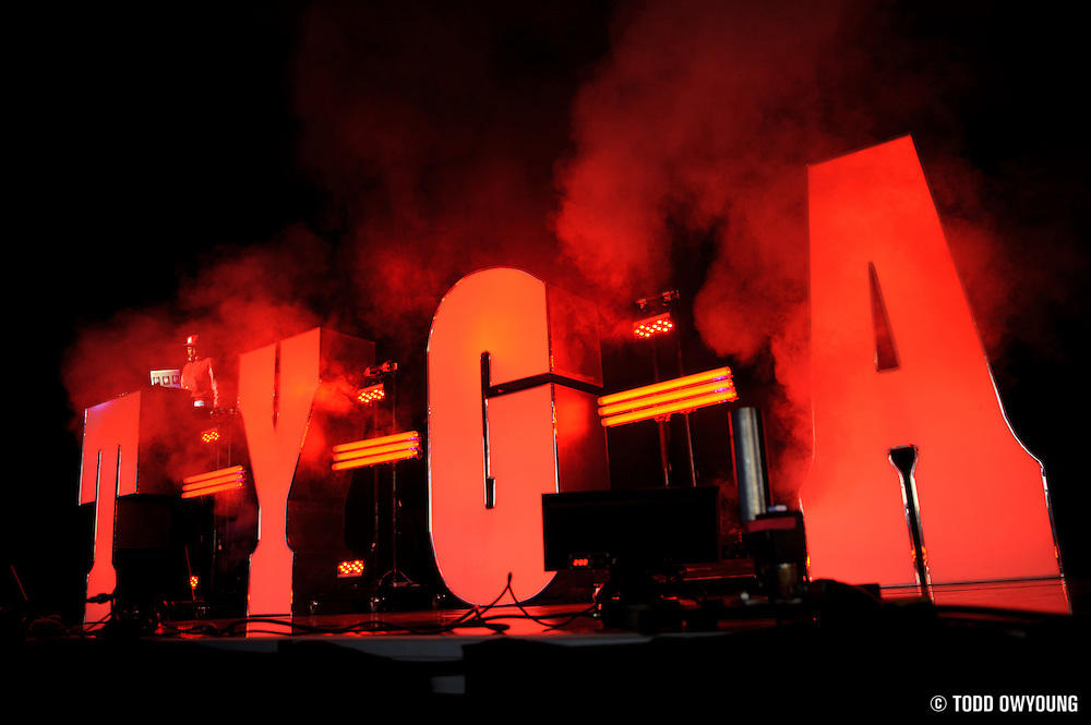 Tyga performing in support of Chris Brown on the FAME Tour 2011 at the Verizon Wireless Amphitheater on September 24, 2011. (Todd Owyoung)
