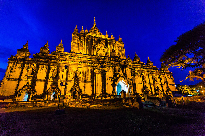 A temple is lit at dusk. Bagan, Myanmar (Quinn Ryan Mattingly)