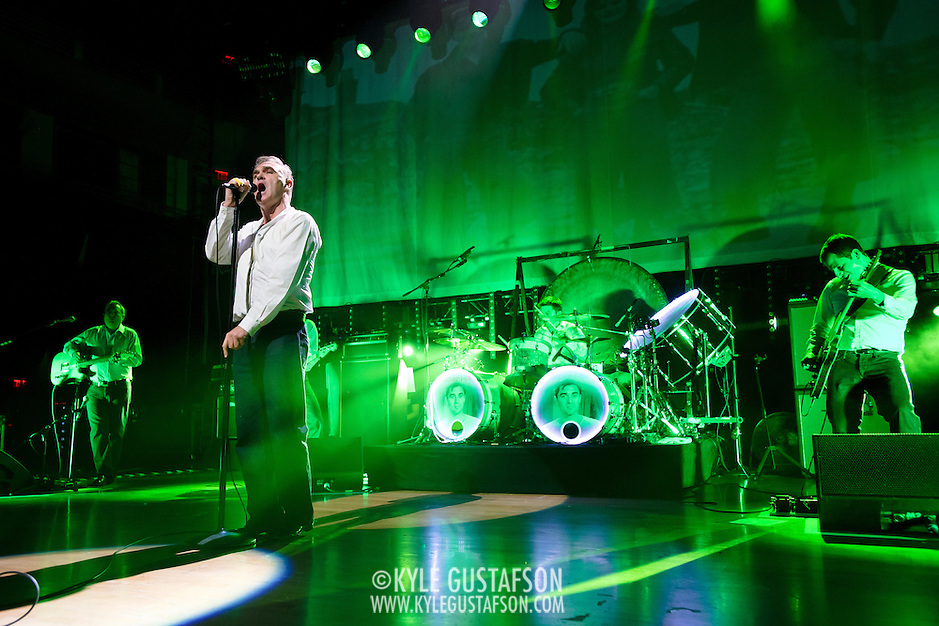 "BETHESDA, MD, DC - January 16th, 2013 - British music legend Morrissey (front) performs at the Strathmore Music Hall with Boz Boorer, Anthony Burulcich, and Jesse Tobias. His set included solo hits like ""Everyday Is Sunday"" as well as material from The Smiths, such as ""Still Ill.""( Photo by Kyle Gustafson/For The Washington Post) (Kyle Gustafson/For The Washington Post)"