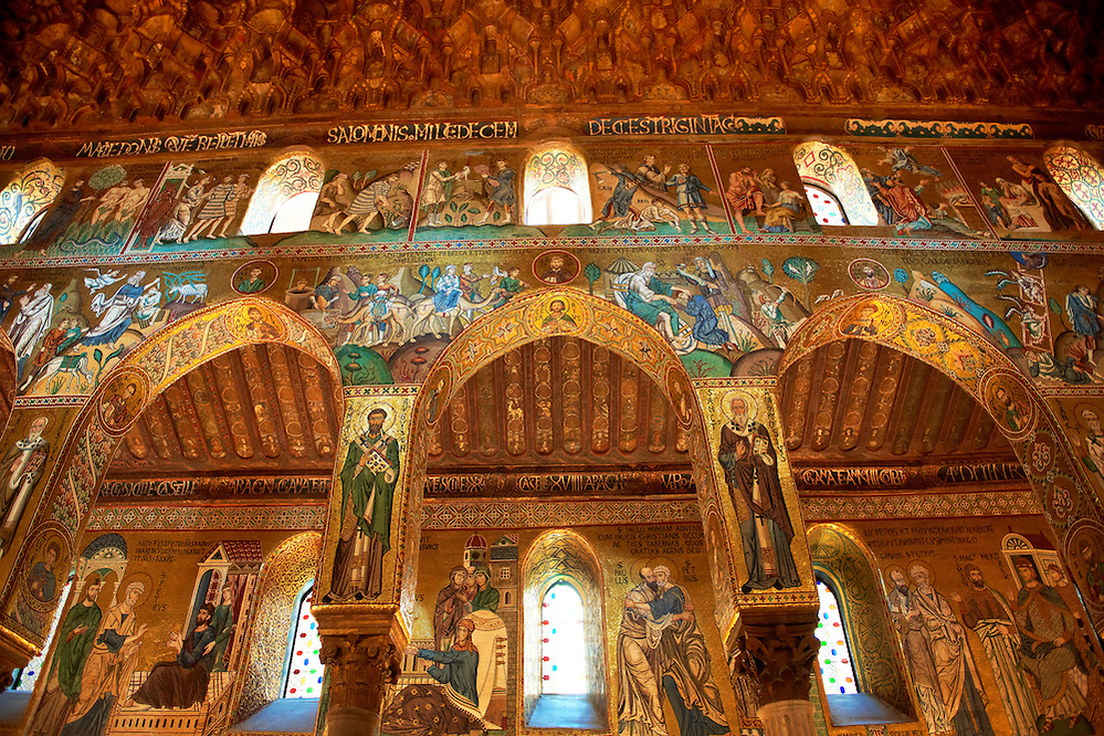 Byzantine mosaics at the Palatine Chapel ( Capella Palatina ) Norman Palace Palermo, Sicily, Italy (By Travel photographer Paul Williams. http://funkystockphotos.com)