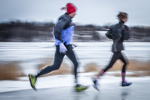 Runners brave the ice near Westchester Lagoon, Anchorage (© Clark James Mishler)