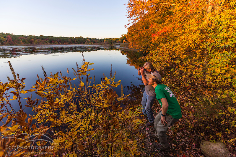 Two men bird watching next to a pond in Marshfield, Massachusetts. Hoyt-Hall Preserve. (Jerry and Marcy Monkman)