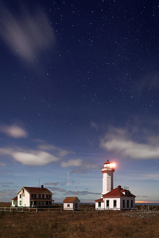 Point Wilson Lighthouse under starry sky, Fort Warden State Park, Port Townsend, Jefferson County, Washington, USA (Brad Mitchell)