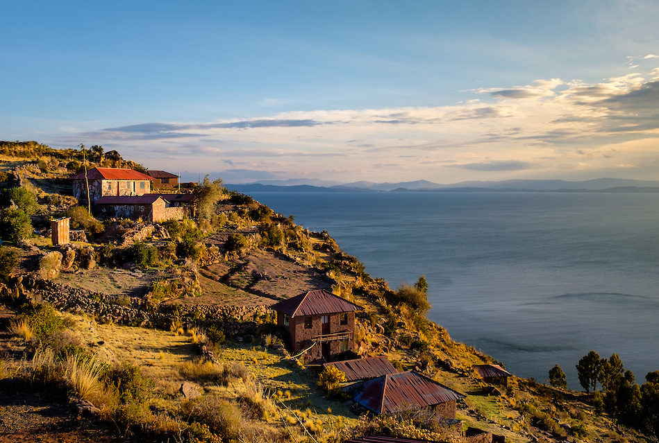 PUNO, PERU - CIRCA OCTOBER 2015: Houses of the Island of Taquile in Lake Titicaca. (Daniel Korzeniewski)