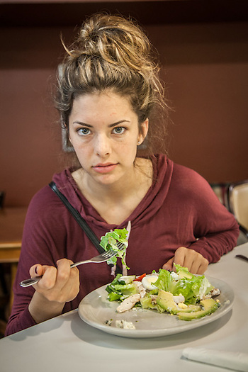 UAA Student Jasmine Alleva at the Bagel Restaurant in midtown Anchorage (© Clark James Mishler)