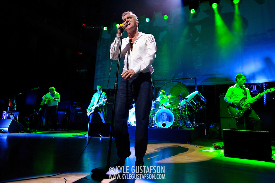 "BETHESDA, MD, DC - January 16th, 2013 - British music legend Morrissey (front) performs at the Strathmore Music Hall with Boz Boorer, Solomon Walker, Anthony Burulcich and Jesse Tobias. His set included solo hits like ""Everyday Is Sunday"" as well as material from The Smiths, such as ""Still Ill.""( Photo by Kyle Gustafson/For The Washington Post) (Kyle Gustafson/For The Washington Post)"