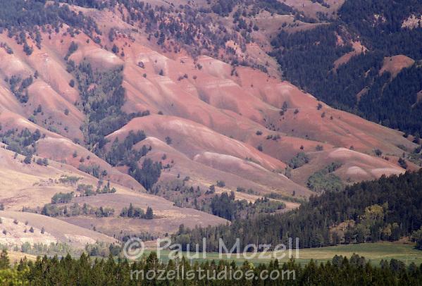 Multi-colored rock and sand cliffs near Jackson Hole, WY (Paul Mozell)