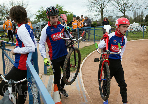19 APR 2015 - IPSWICH, GBR - Ashley Hill (left) and Matt Hill (right) of Ipswich Eagles walk to the start of a heat during the Elite League cycle speedway fixture against Sheffield Stars at Whitton Sports and Community Centre in Ipswich, Suffolk, Great Britain  (PHOTO COPYRIGHT © 2015 NIGEL FARROW, ALL RIGHTS RESERVED) (NIGEL FARROW/COPYRIGHT © 2015 NIGEL FARROW : www.nigelfarrow.com)