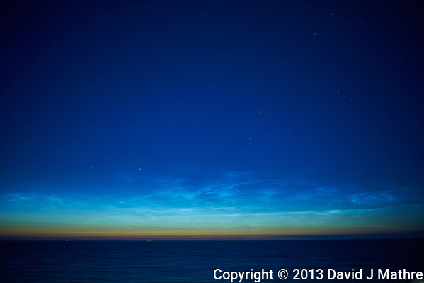 Noctilucent Clouds Over the Baltic Sea. From my cabin on the MV Explorer while traveling from Stockholm to Copenhagen. Image taken with a Nikon D4 camera and 28 mm f/1.8 lens (ISO 800, 28 mm, f/1.8, 1 sec). Raw image processed with Capture One Pro. (David J Mathre)