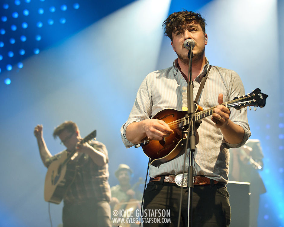 FAIRFAX, VA - February 13th,  2013 - Marcus Mumford (right) of British folk outfit Mumford &amp; Sons performs at the Patriot Center in Fairfax, VA.  The band's sophomore album, Babel, debuted at number one on both the UK and US album charts and recently won the 2013 Grammy for Album of the Year. (Photo by Kyle Gustafson/For The Washington Post) (Kyle Gustafson/For The Washington Post)