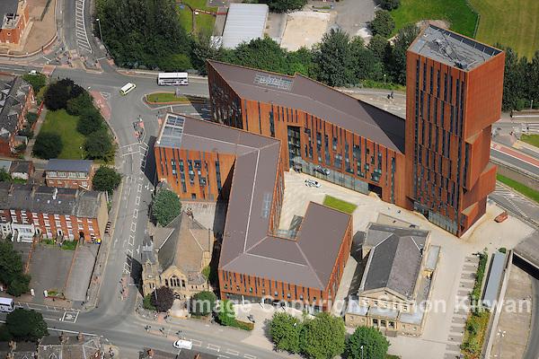 Broadcasting Tower, Leeds Met Uni from the Air - aerial photography by Simon Kirwan