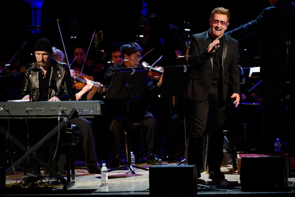 "Photos of Bono and The Edge of U2 performing live for the ""It Always Seems Impossible Until It Is Done"" World AIDS Day event at Carnegie Hall in New York, NY on December 1, 2015. © Matthew Eisman/ Rolling Stone. All Rights Reserved (Matthew Eisman/Photo by Matthew Eisman)"