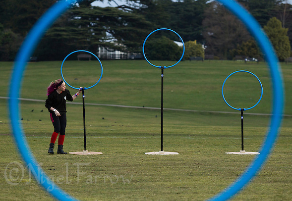 08 MAR 2015 - NOTTINGHAM, GBR - Sarah Dorricott prepares the goals for the 2015 British Quidditch Cup at Woollaton Hall and Deer Park in Nottingham, Great Britain (PHOTO COPYRIGHT © 2015 NIGEL FARROW, ALL RIGHTS RESERVED) (NIGEL FARROW/COPYRIGHT © 2015 NIGEL FARROW : www.nigelfarrow.com)