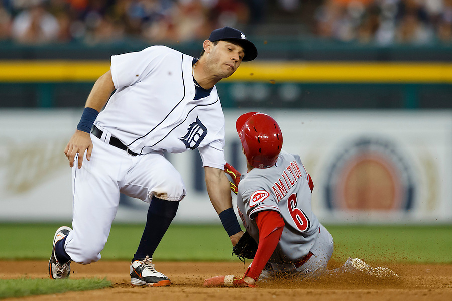 Jun 16, 2015; Detroit, MI, USA; Cincinnati Reds center fielder Billy Hamilton (6) is tagged out by Detroit Tigers second baseman Ian Kinsler (3) trying to steal second base in the seventh inning at Comerica Park. Mandatory Credit: Rick Osentoski-USA TODAY Sports (Rick Osentoski/Rick Osentoski-USA TODAY Sports)
