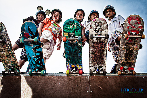 Young skateboarders at summer Ramp Camp. (David T. Kindler)