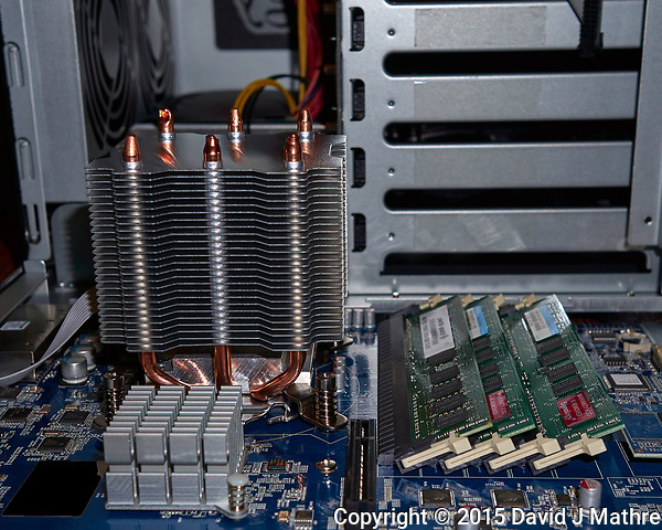 Passive Processor Cooler in a Synology DS3615xs disk array. Image taken with a Leica T camera and 23 mm f/2 lens (ISO 100, 23 mm, f/5, 1/60 sec). (David J Mathre)