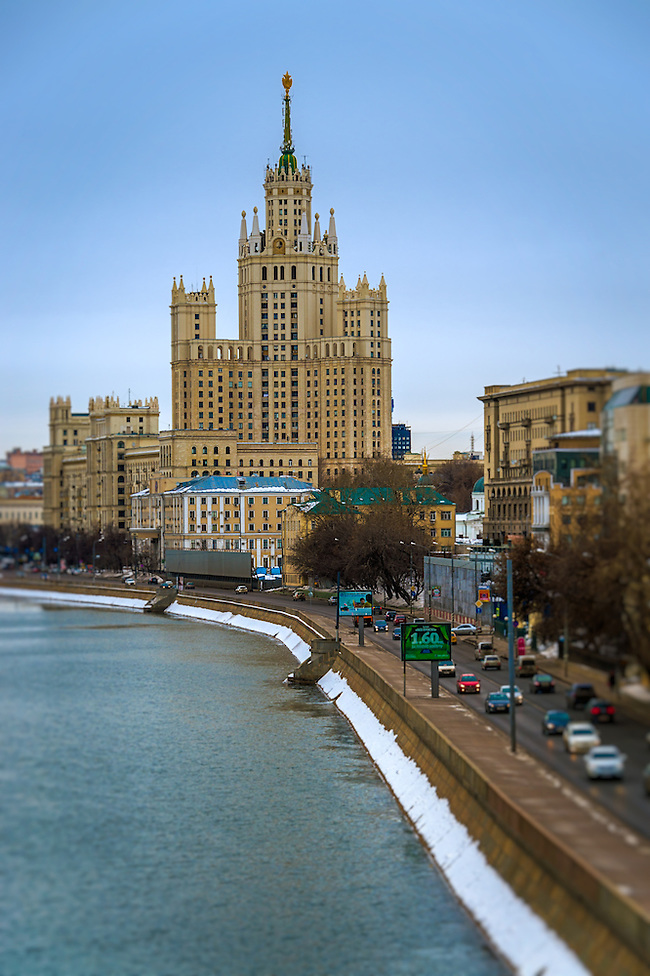 """MOSCOW - CIRCA MARCH 2013: View of one the famous """"Seven Sisters"""" or Stalinskie Vysotki Building in Moscow, circa 2013. With a population of more than 11 million people is one the largest cities in the world and a popular tourist destination. (Daniel Korzeniewski)"""