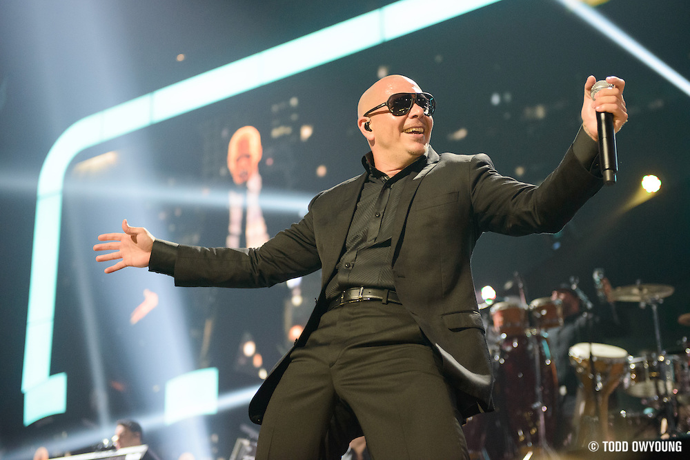 Pitbull performing at the iHeartRadio Music Festival in Las Vegas, Nevada on September 22, 2012. (Todd Owyoung)