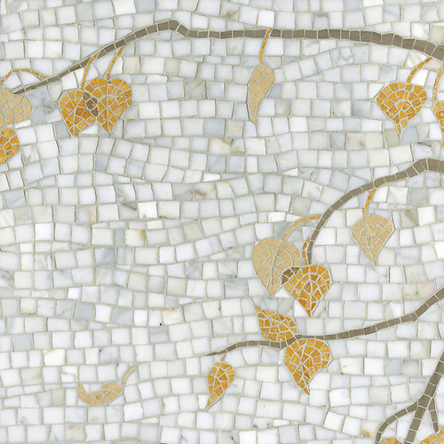 Name: Aspen Style: Organic Product Number: CB1003 Description: Aspen in Calacatta Tia, Driftwood, Travertine Noce, Persian Gold, Sylvia Gold (p) (New Ravenna Mosaics)