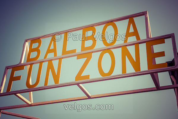 Photo of Balboa Fun Zone sign in Newport Beach California. The Balboa Fun Zone is a small amusement park built in 1936 on Balboa Peninsula in Newport Beach, Orange County, California. The land was purchased by the Newport Harbor Nautical Museum which has been slowly closing rides to expand it museum. (Photographer: Paul Velgos)