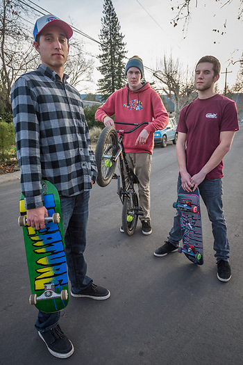 """We like hiking, fishing, biking, skiing...anything outside."" -Ethan Behrens hangs out with friends Luke Morgan and Liam Hunemuller on North Oak Street in Calistoga. (Clark James Mishler)"