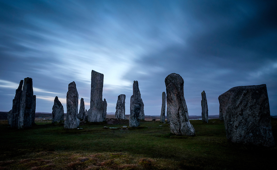 LEWIS AND HARRIS, SCOTLAND - CIRCA APRIL 2016: Dusk time over the famous Callanish Stones in Outer Islands of Lewis and Harris in Scotland. (Daniel Korzeniewski)