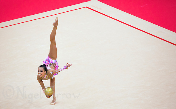 11 AUG 2012 - LONDON, GBR - Yeon-Jae Son (KOR) of South Korea performs her ball routine during the 2012 London Olympic Games Individual All-Around Rhythmic Gymnastics final at Wembley Arena in London, Great Britain (PHOTO (C) 2012 NIGEL FARROW) (NIGEL FARROW/(C) 2012 NIGEL FARROW)