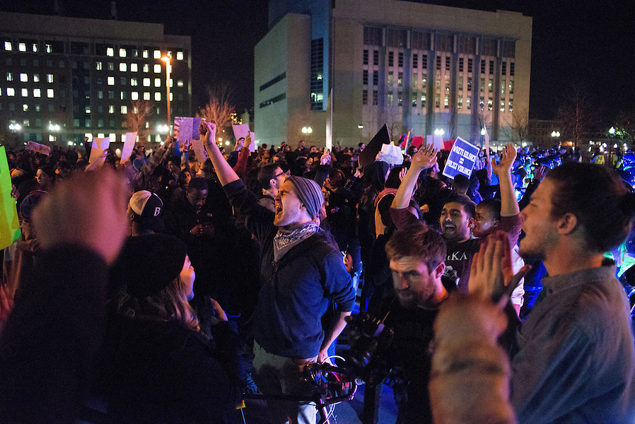 11/25/14 – Medford/Somerville, MA – Protesters chant during the Indict America rally in Boston on November 25th, 2014. (Nicholas Pfosi / The Tufts Daily) (Nicholas Pfosi / The Tufts Daily)