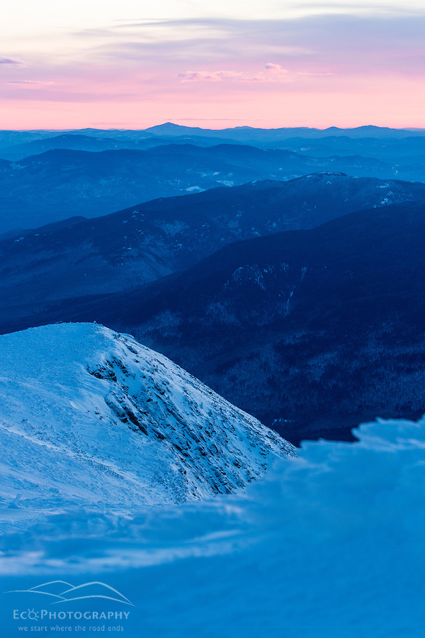 The White Mounains at dawn as seen from the summit of Mount Washington. (Jerry Monkman)