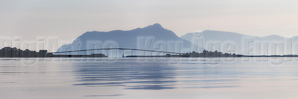 Beautiful morning panoramic view of Remøy Bridge, located on the western part of Norway. Paint effect added for artisitic expression | Nydelig morgenstemning i Nørdre Vaulen med Remøy og Leinøy på hver side av Remøybrua. Malerisk effekt er lagt til (DigiArt Kay-Åge Fugledal)