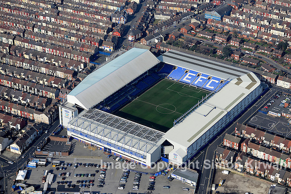 Goodison Park, home of Everton FC from the Air - Aerial Photography By Simon Kirwan