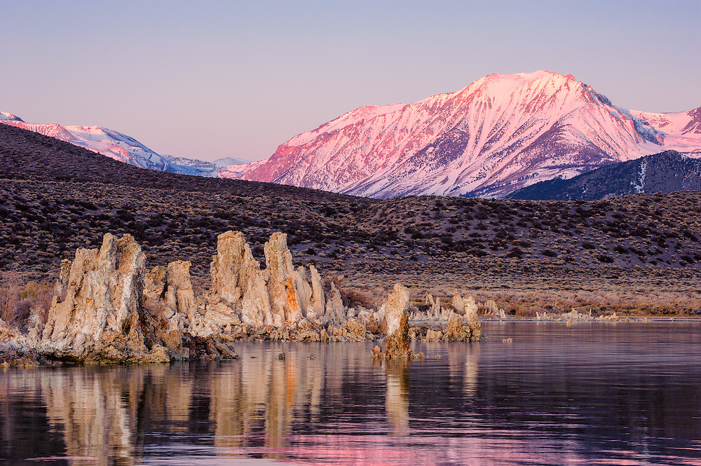 First light shining on the Sierra Nevadas from Mono Lake (Doug Oglesby)