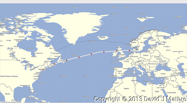 GPS Track: Newark to Copenhagen (3890 miles) (David J Mathre)