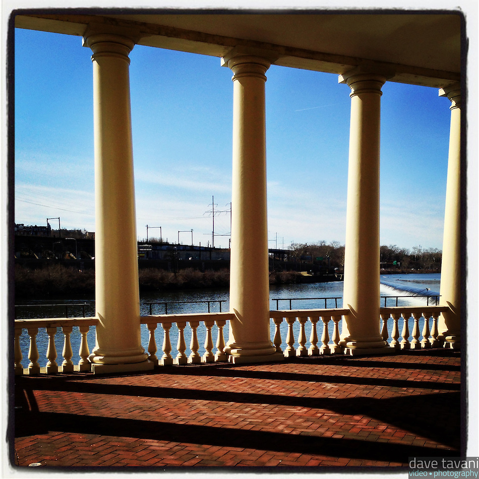 The columns at the Fairmount Waterworks cast shadows in the late afternoon sun on March 9, 2013. (Dave Tavani)