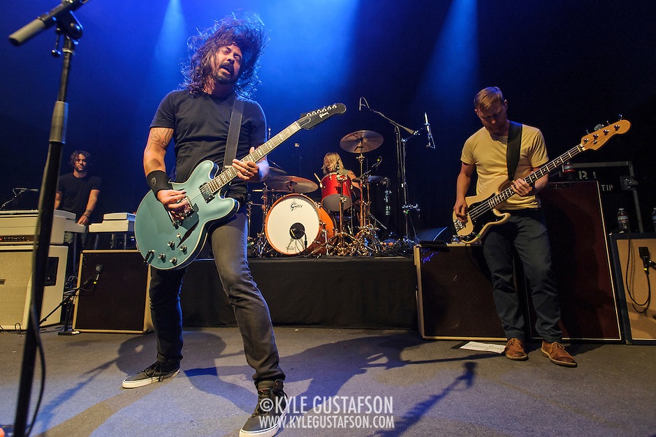 """WASHINGTON, DC - May 5th, 2014 - Dave Grohl, Taylor Hawkins and Nate Mendel of the Foo Fighters perform at the 9:30 Club in Washington D.C. as part of the birthday celebration for Big Tony of Trouble Funk.  The band performed as surprise guests and played a set full of hits such as """"My Hero"""" and """"These Days."""" (Photo by Kyle Gustafson / For The Washington Post) (Kyle Gustafson/For The Washington Post)"""