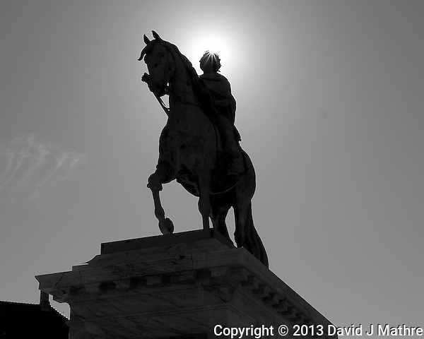 Equestrian statue of Frederik V (Friderico Quinto Clementi Pacifico) by the French sculptor Jacques-François-Joseph Saly in the Frederiksstaden Square in Copenhagen, Denmark. Image taken with a Leica X2 camera (ISO 100, 24 mm, f/16, 1/250 sec). In camera conversion to B&W. Semester at Sea Spring 2013 Enrichment Voyage. (David J Mathre)