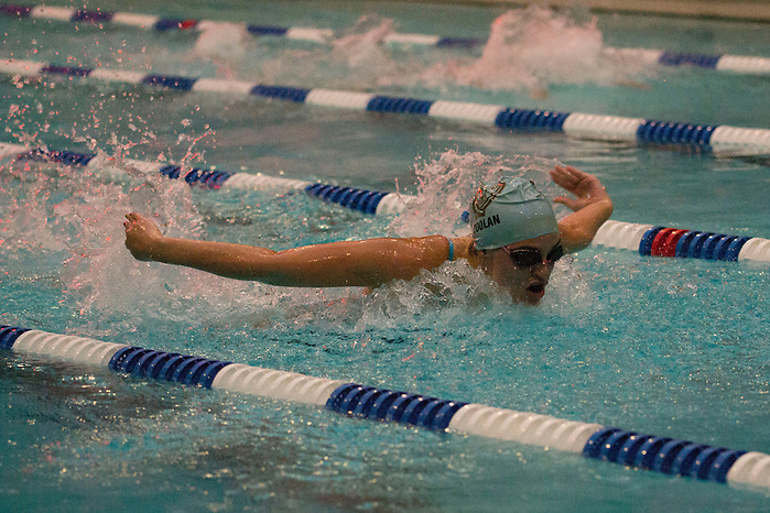 1/23/16 – Medford/Somerville, MA – Tufts first year Colleen Doolan swims butterfly for the Swimming & Diving team as it faces off against Wheaton on Saturday, Jan. 23. (Julia Press / The Tufts Daily) (Julia Press / The Tufts Daily)