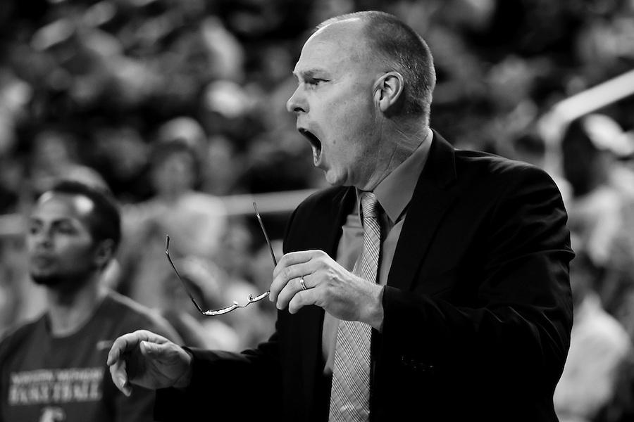Nov 13, 2015; Ann Arbor, MI, USA; Northern Michigan Wildcats head coach Bill Sall reacts against the Michigan Wolverines at Crisler Center. Mandatory Credit: Rick Osentoski-USA TODAY Sports (Rick Osentoski/Rick Osentoski-USA TODAY Sports)