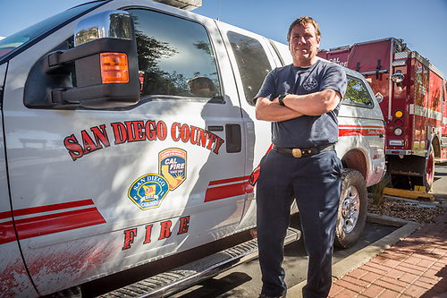 San Diego Cal Fire Battalion Chief John Kremensky and his crew have just arrived from the wild fires in Sonoma County and are about to begin their 24 hour layover at the Hampton Inn in Concord before heading back to the fire. (Clark James Mishler)