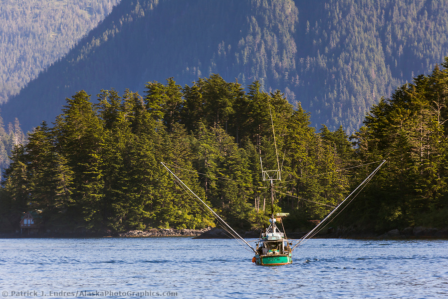 Commercial fishing photos: Commercial fishing trolling vessel in Sitka Sound, Sitka, Barnaof Island, southeast, Alaska. (Patrick J. Endres / AlaskaPhotoGraphics.com)