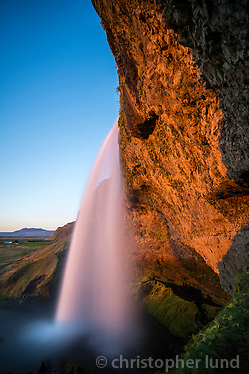 Seljalandsfoss waterfall cathcing the last rays of sunlight, South Iceland. (Christopher Lund/©2012 Christopher Lund)