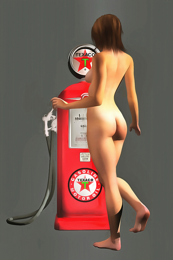 Early Texaco gas pumps featured iconic imagery and colors. You can bring those colors back to striking life with this impressive fine art piece. As a provocative contrast to the gas pump, we can see a nude woman facing away from us. Her nude backside is combined with a demure pose, and we can only imagine what might be happening in this compelling, unique piece. This is an excellent example of pop art, and it can make for a welcome addition to just about any room or space you can imagine. There is a unique energy to this piece that makes it very appealing. (Jan Keteleer)