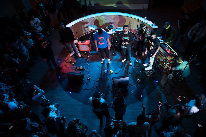 4/7/16 – Medford/Somerville, MA – A student band performs in Hotung during the Battle of the Bands on Thursday, Apr. 7, 2016. The winner of the night's event, Water Walk, will be able to perform as an opener during Spring Fling. (Nicholas Pfosi / The Tufts Daily) (Nicholas Pfosi / The Tufts Daily)