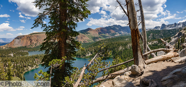 See Lakes George & Mary below Mammoth Crest Trail. Inyo National Forest, Mammoth Lakes village, California, USA. Mammoth Lakes lies on the edge of the Long Valley Caldera, geologically active with hot springs and rhyolite domes that are less than 1000 years old.(© Tom Dempsey / PhotoSeek.com)